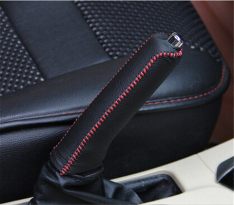 Black Red Line Leather Hand-Stitched Car Handbrake Cover For Toyota Corolla 2014 2015(China (Mainland))