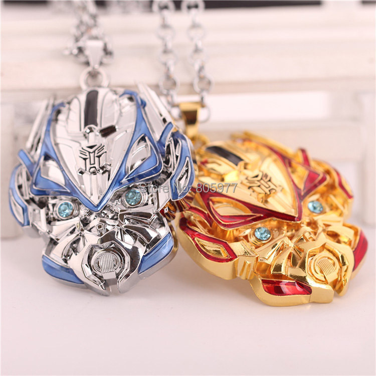2014 New Arrival Movie 3D OPTIMUS PRIME TEST SHOT Mask Pendant Necklace Red And Blue12PCS/LOT Free Shipping(China (Mainland))