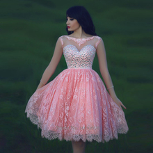 Pretty Pink Short Prom Dress 2015 With Sleeves See Through Lace Crystal Party Gowns Backless Mini Ball Gown For Ladies DSP002(China (Mainland))