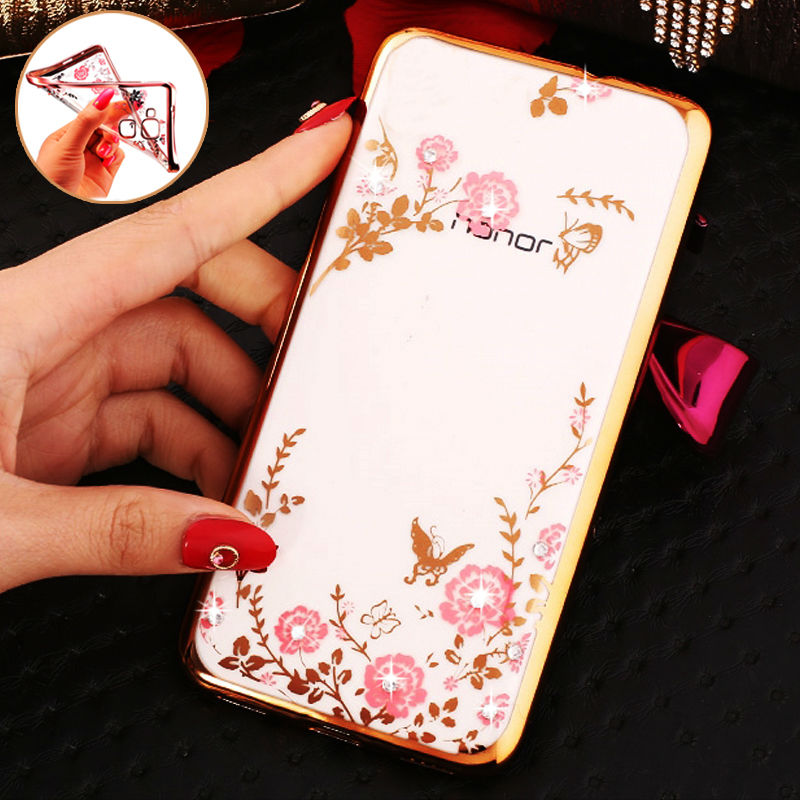Luxury Rhinestone Soft Case Huawei P8 P7 P9 LITE G8 / Mate 7 8 Honor 6 4X 5X 7i 4A 4C 5C NEW Flowers Silicon Cover Cases  -  HOTSWEI Factory Store store