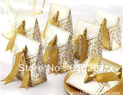 Wholesale-100pcs Ribbon Wedding Favors Candy boxes Gold or Silver color For Wedding Party -Free Shipping