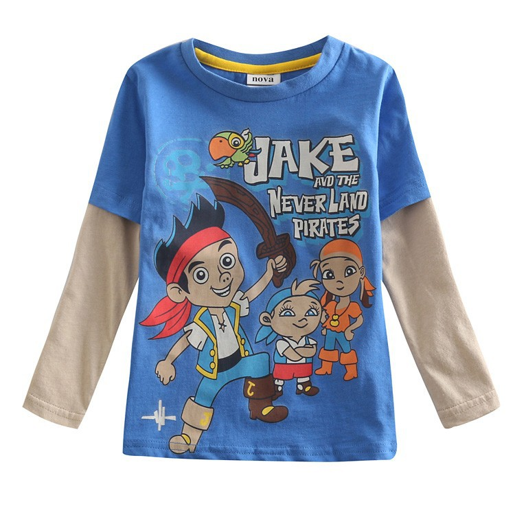 Promotion Boys T shirt Clothes Kids Baby Jake And The Neverland Pirates Clothing 100% Cotton Clothes Long Sleeve T Shirt(China (Mainland))
