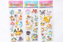 3 sheet/set Japanese cartoon anime Pokemon 3D stickers for kids room Home decor Diary Notebook Label Decoration toy Pikachu