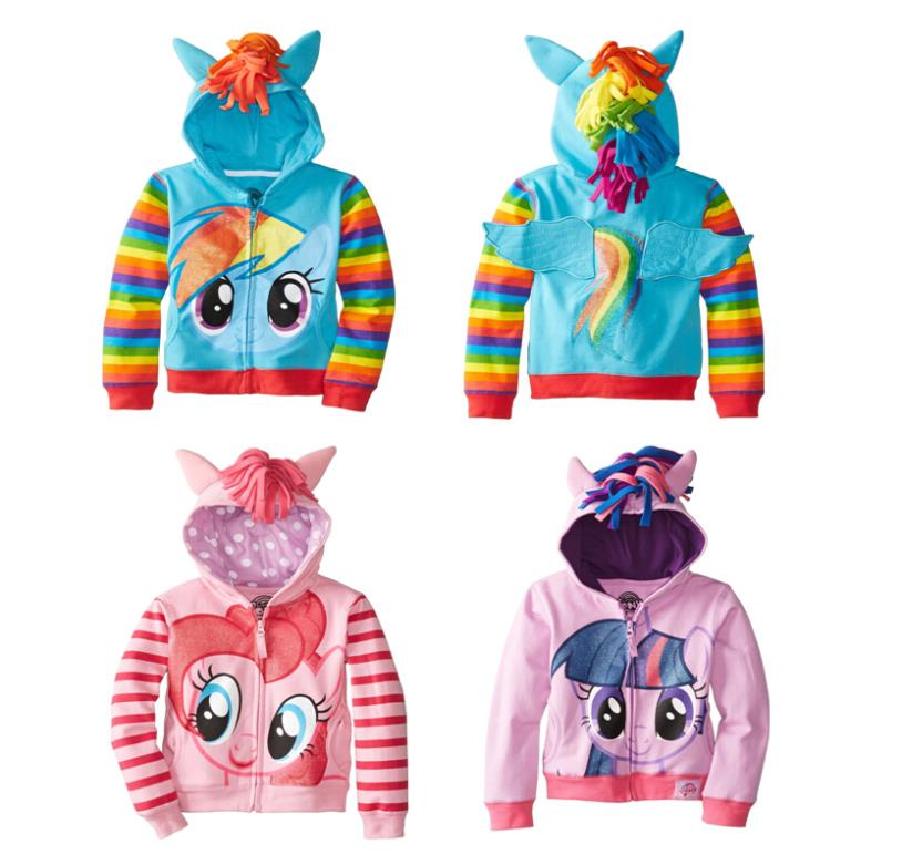 2016 New My little pony Children Girls Jackets Children Outerwear Kids Sweater Cartoon Hoodies Girls Clothing Brand (90-150)(China (Mainland))