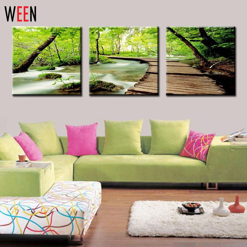 3 piece wall decor painting picture on canvas wood bridge