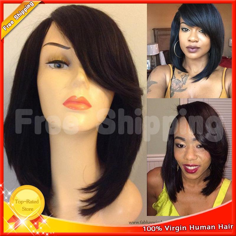 7A brazilian human hair bob wig for black women side bang short cut short human hair wigs 130% lace front wig&full lace wig(China (Mainland))