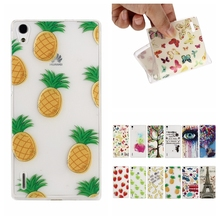 Novelty Fruit Pineapple Banana Tower Transparent Soft TPU Ultra Slim Back Case Cover Huawei Ascend P7 - HQS Technology Co., Ltd. store