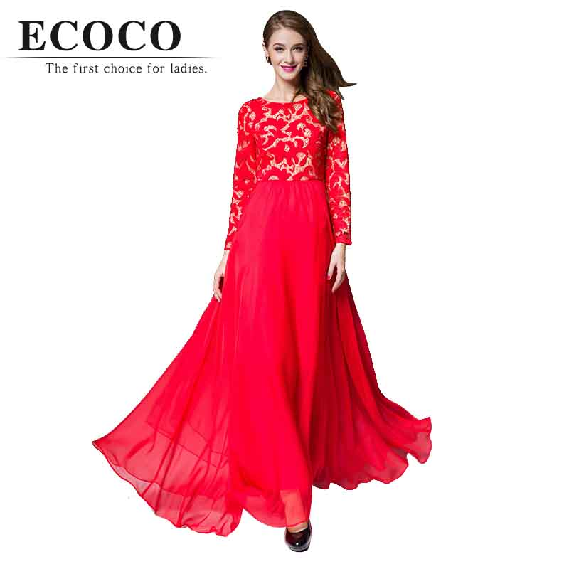 High Quality Casual Long Sleeve O Neck Floor-length Chiffon Elegant Red Black Lace Spring Maxi Dress Women Party Plus Size D718Одежда и ак�е��уары<br><br><br>Aliexpress