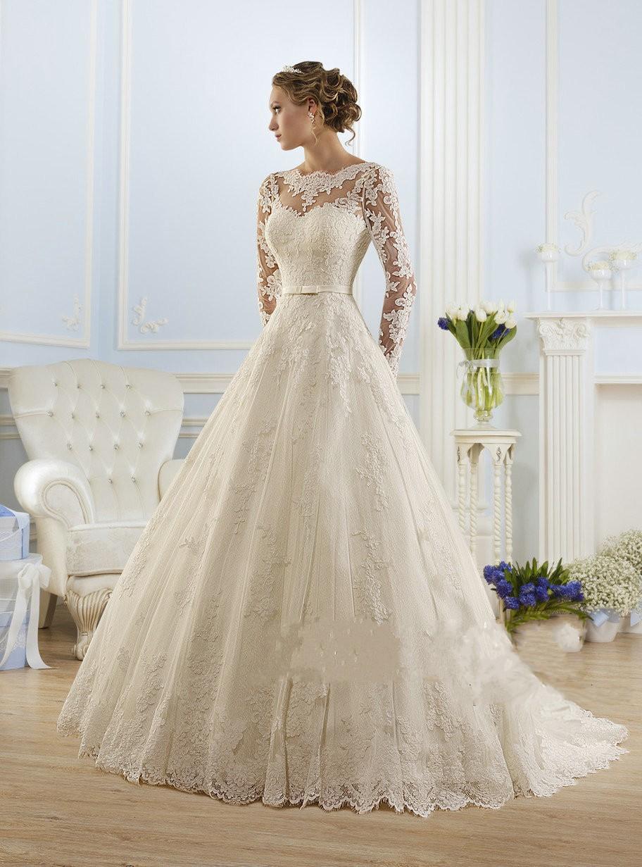 Luxury Long Sleeve Lace Appliques Low Back Wedding Dress 2016 A-line vestido de noiva Wedding Dresses vestido de noiva(China (Mainland))