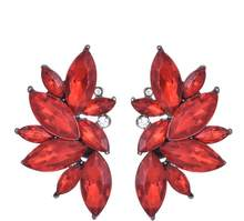 2018 New Women's Fashion Crystal Earrings Rhinestone RED / Pink Glass Black Resin Metal Leaf Ear Earrings For Girl e0139(China)