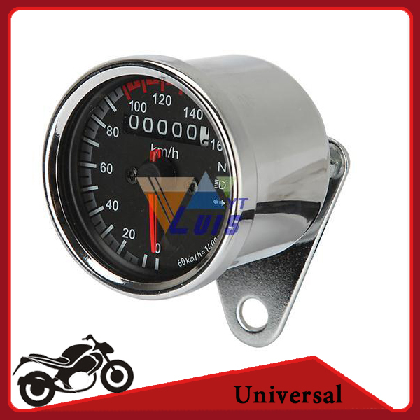 Universal Motorcycle Speedometer Odometer Gauge ATV Bike Scooter Backlit Dual Speed meter with LED Indicator DC 12V 0~160km/h(China (Mainland))