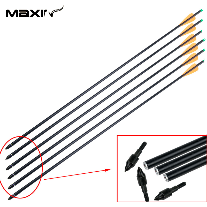 3pcs 76 2cm Archery Supplies Hunting Fiberglass Arrows Replaceable Alloy Arrowhead for Archery Shooting Target with
