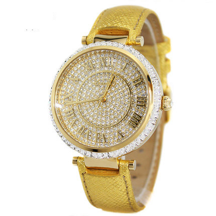 fashion roma number scale full diamond dial genuine leather strap women ladies watches