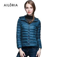 Ailoria 2016 Top Quality Brand Lady Short Winter Autumn Overcoat Women Brand 90% White Duck Down Hoodies Coat With Bag Jackets(China (Mainland))