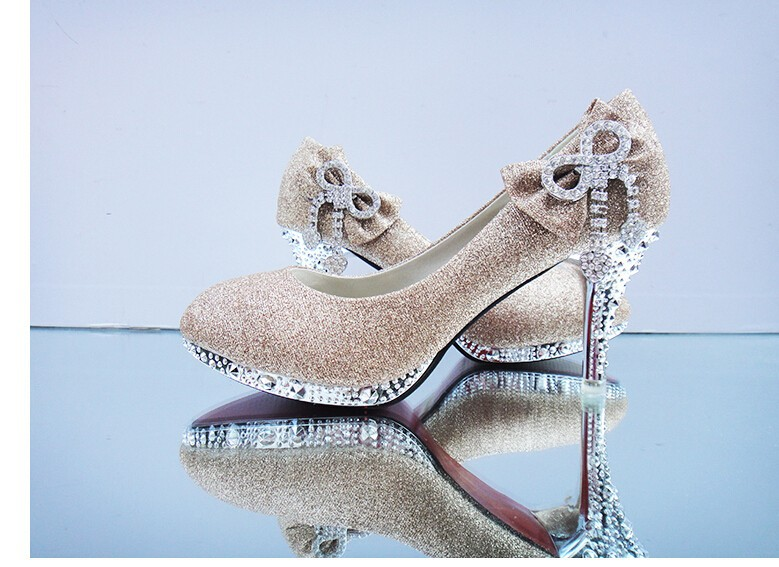 2015 Butterfly Knot Diamond Women Bridal Shoes High Heels Royal Stiletto Golden Shoes Wedding Shoes For Women Party Shoes X48050