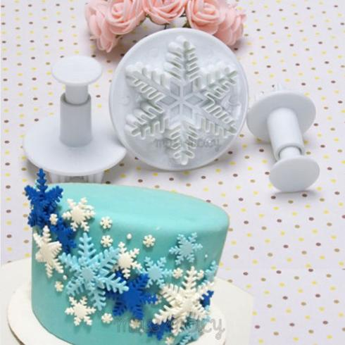 Buy New 3pcs Set Snowflake Fondant Cake Decorating Tools Cupcake Kitchen