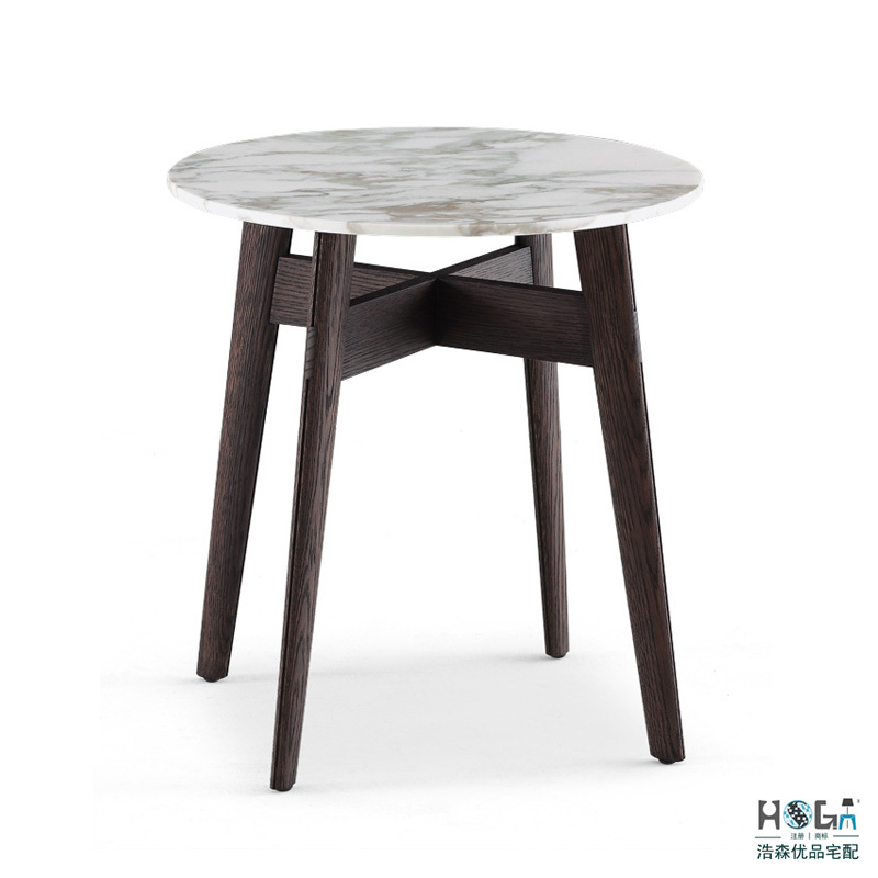 Round marble side table wooden coffee table combination of for Italian design coffee table