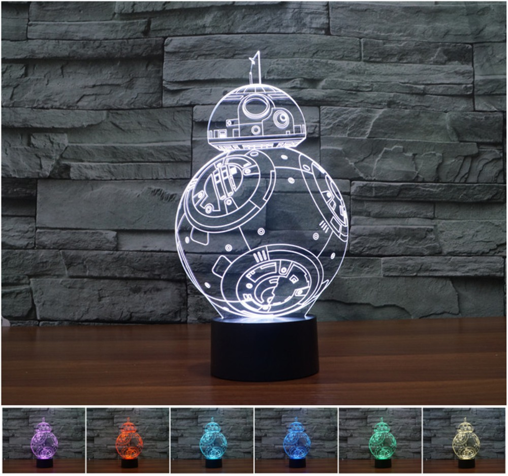 Creative Star Wars BB-8 3D Night Light Acrylic Colorful Gradient Novelty Lighting LED lights visual perspective(China (Mainland))