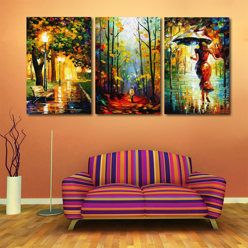 Modern Decor Canvas Painting Abstract Oil Painting 3 Piece Street Light Tree Wall Pictures For Living Room Art Figure Walk Rains(China (Mainland))