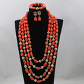 African Long Pattern 4 Rows Orange Add Gold Ball Coral Beads Party Jewelry Set Costume Jewelry