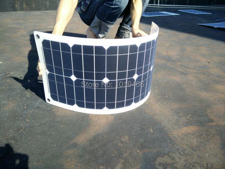 Monocrystalline silicon 30 w / 18 v half flexible solar panels, 12 v car battery charging,Optional transparent, white edge(China (Mainland))