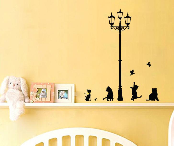 Cartoon street lamp Cat Vinyl Wall stickers Wallpaper Wall Sticker Removable home Decor office room Decals