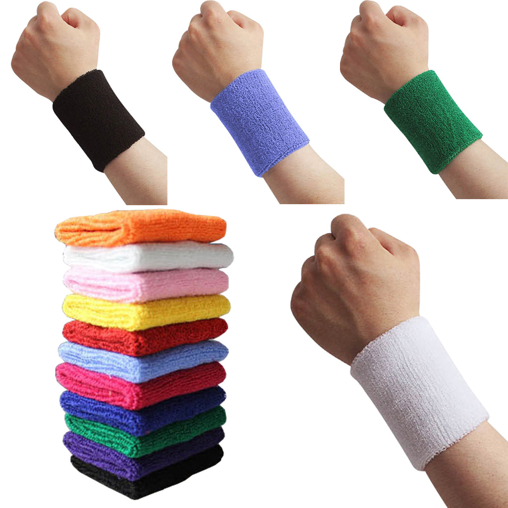 1 PC Sport Wristband Cotton Sweat Band Tennis Basketball Running Gym Yoga Safety Wrist Support