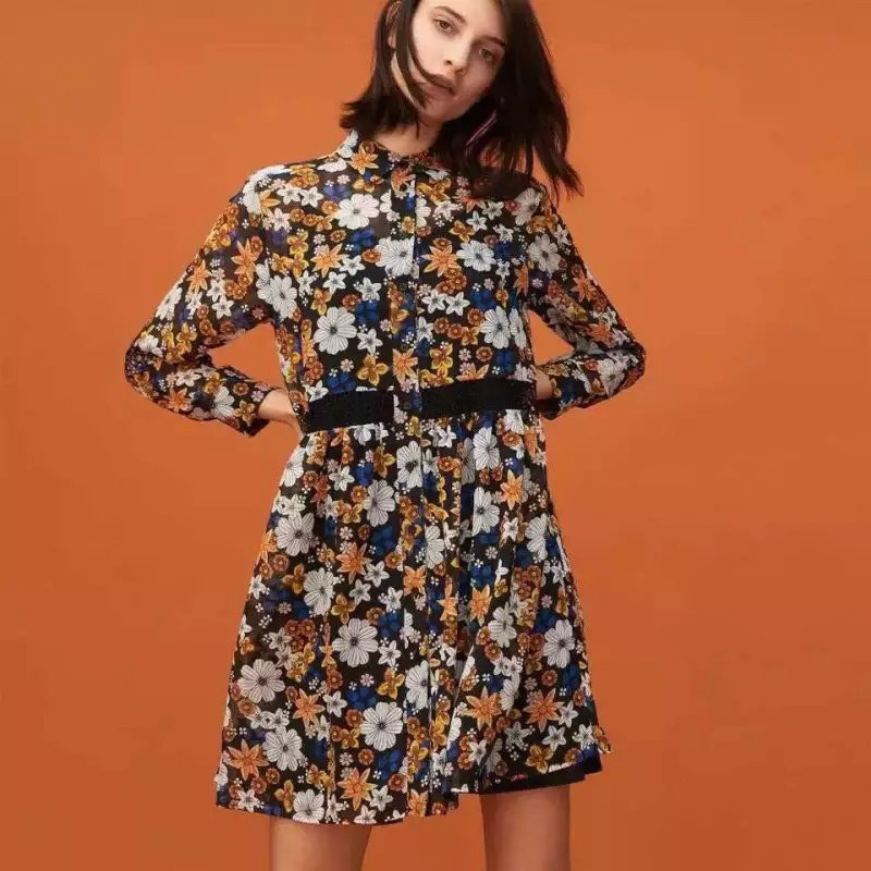 Lace Patchwork Floral Dress 2016 Spring New Arrival Turn Down Collar Spring Shirt Dress Fashion Brand Robe Ete Femme 2016