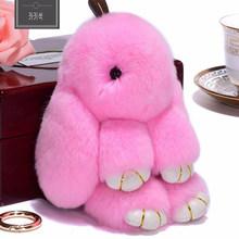 Pluff 18CM tamanho Grande Bonito Chaveiro Coelho Rex faux Rabbit Fur pompom Chaveiro Para As Mulheres Bolsa Pingente de carro fofo fur Pom Pom Boneca(China)
