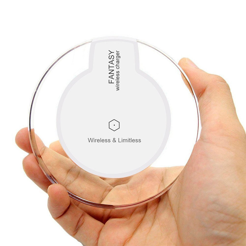 A+ 2016 New Round LED Transparent Wireless Charger Pads 5V 1A For Samsung S6 Edge Plus Nexus 5 6(China (Mainland))