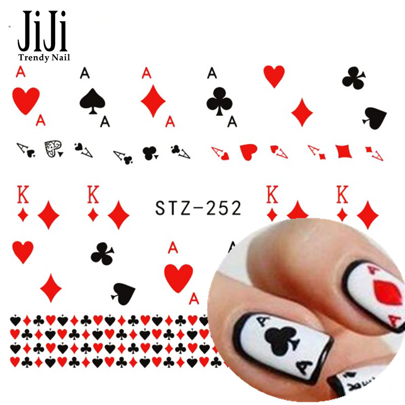 Jiji Trendy Nail 1x New Water Transfer Playing Card Nail Art Stickers Wraps Decals French Tips Decorations Styling Tools STZ252(China (Mainland))