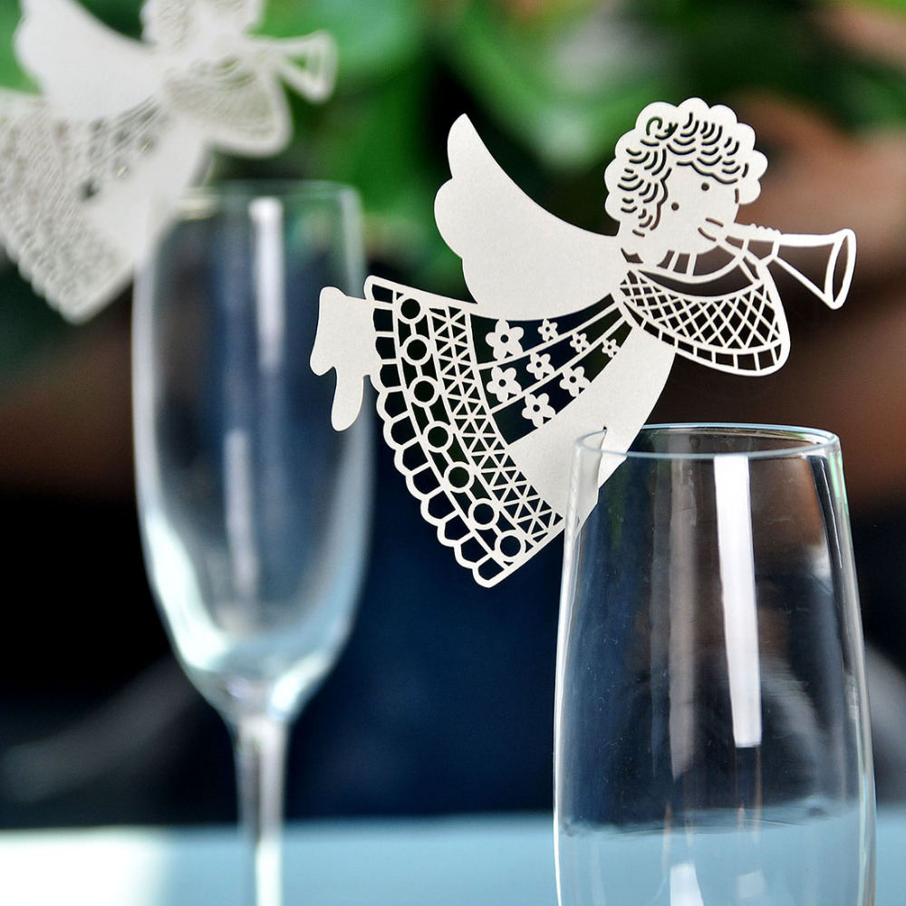 50pcs White Angel Laser Cut Table Mark Wine Glass Name Place Cards Wedding Party Favor Decor Baby Shower(China (Mainland))