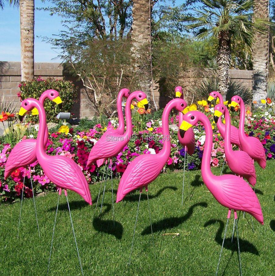 "16 plastic bight pink premium flamingos garden ,yard and lawn art ornament wedding ceremony decoration with 34"" height(China (Mainland))"