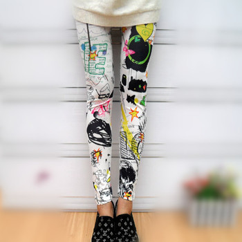 Graffiti spray paint color splash-ink leggings the butterfly sunflower Free Shipping