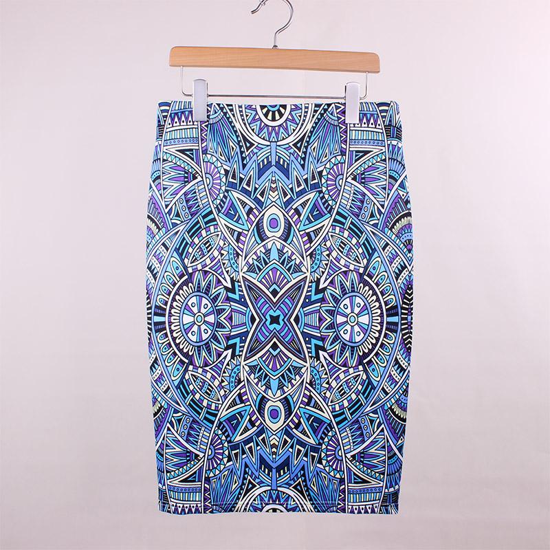 Vintage geometric print ladies pencil skirts 2016 novelty fashion design vogue women slim bottoms girls faldas wholesale(China (Mainland))