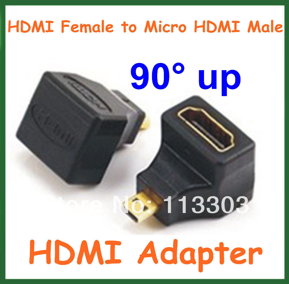 100pcs HDMI Adapter HDMI Female to Micro HDMI Male 90 Degree Angle Up Converter Connector for Cable HD TV DVD HDMI Extender(China (Mainland))