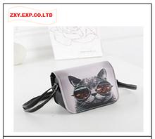 2016 Women Bag PU Leather Cat Wearing Glasses Print Messenger Handbag ZXY Bolsos Carteras Mujer Marca