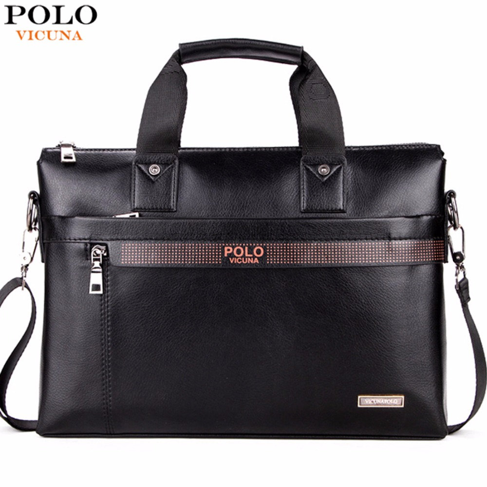 POLO VICUNA Simple Dot Design Casual Business Leather Mens Bags For Laptop Luxury Mens Leather Handbags Briefcase Bag Male(China (Mainland))