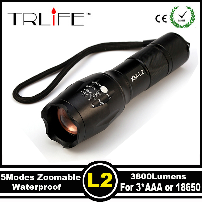 Hot Sale E17 CREE XM-L T6 L2 LED 6000 Lumens Outdoors Led Torch LED Flashlight bicycle Torch Bike Light Zoomable Focus