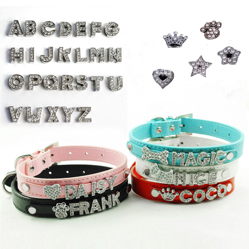 Bling Dog Cat Pet Personalized Leather Name Collar Chihuahua Yorkie Dachshund French Bulldog Boston Terrier Labrador Husky Boxer(China (Mainland))