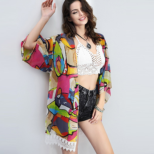 Summer Style 2015 New Women Lace Chiffon Beach Cover Up Quality Vintage Sexy Colorful Print Plus Size Top Big Sale(China (Mainland))
