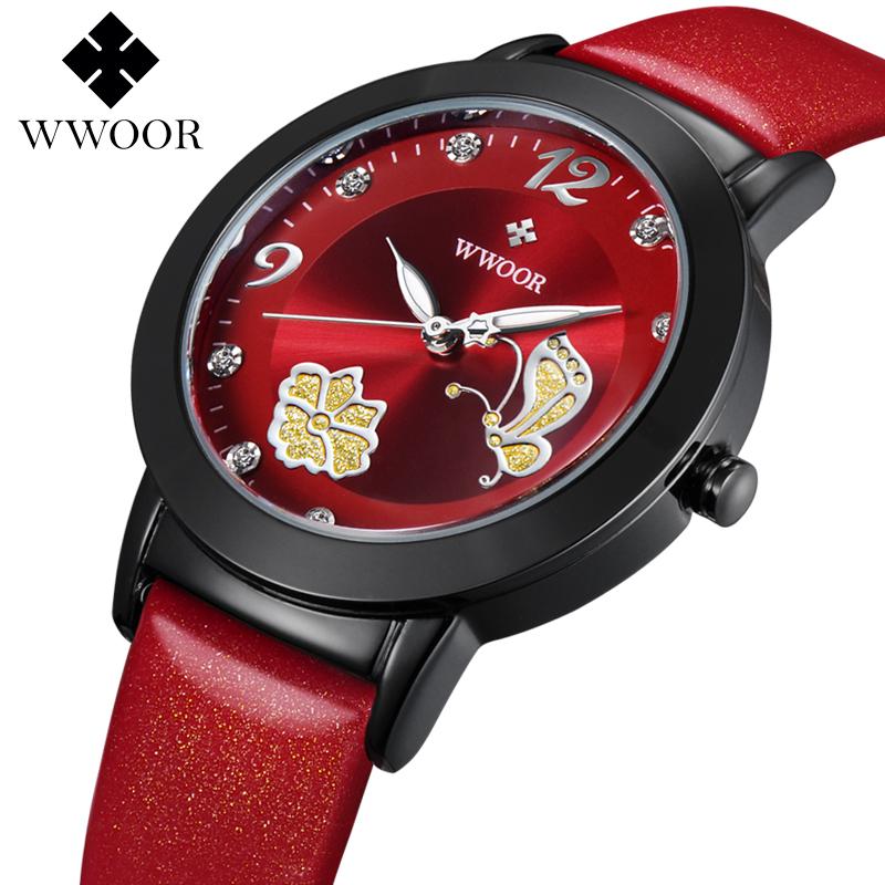 2016 WWOOR Fashion Ladies Watches Top Brand Luxury Watch Women Luminous Leather Quartz Casual Wristwatches reloj mujer(China (Mainland))