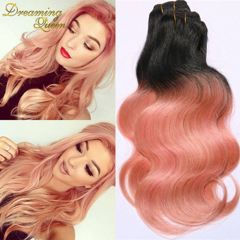 Ombre Hair Extensions 7A Brazilian Virgin Hair Body Wave 3 Pieces/Lot 1B/Rose Gold Human Hair Dusty Rose Weave Rainbow Hair(China (Mainland))