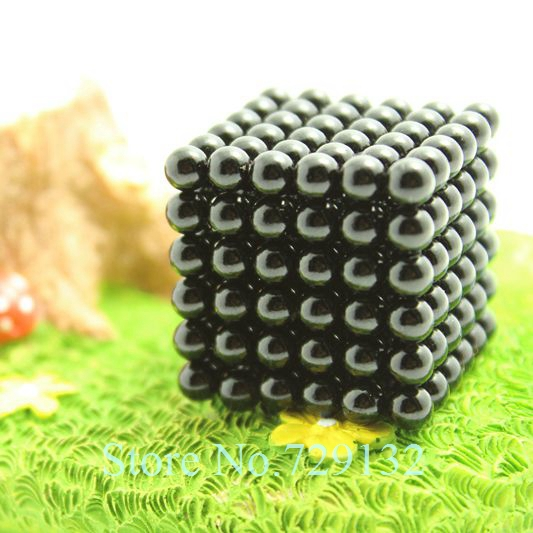 Free shipping 5mm Buckyballs Magnetic balls Neocube Magic cube Magnet Puzzle (Black color, Round tin box)(China (Mainland))