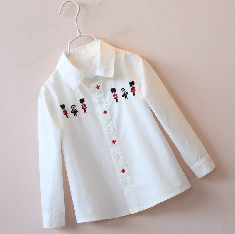 2016 New Children's Clothing Embroidered Cartoon Soldiers White Shirt  Girls Long Sleeves Cotton Turn Down Collar Blouses Clothe