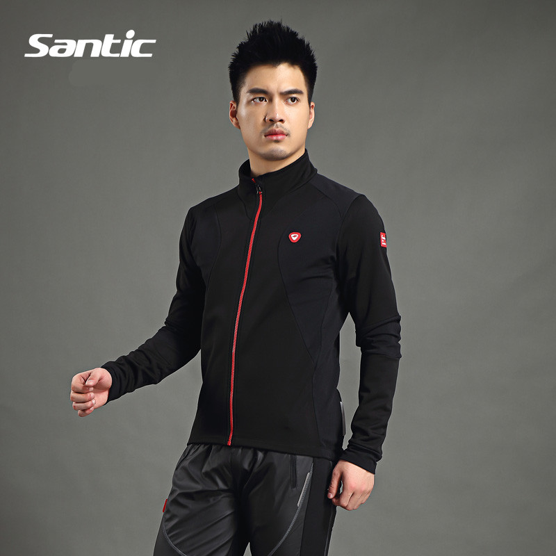 Фотография Santic Men Cycling Jacket Bike Spring Fleece Cycling Jackets Thermal Cycling Clothes Cycling Windproof Jacket WSM144F0702B