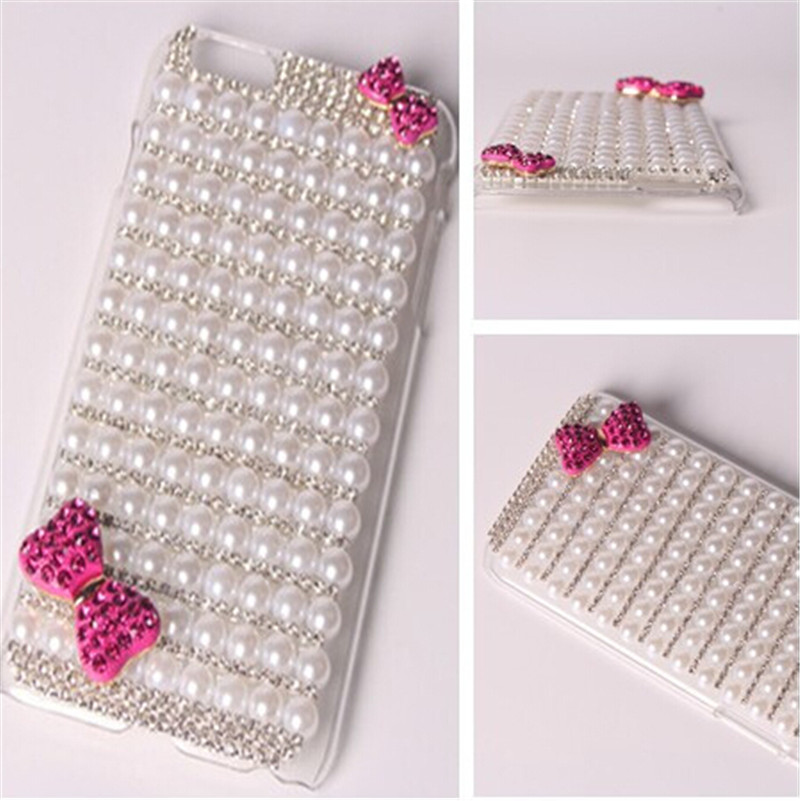 3D Handmade Bling Crystal Pink Bow Glitter Diamond Pearl Clear Case Hard Back Cover For Alcatel One Touch PIXI 3 5.0/ 4.0 /4.5(China (Mainland))