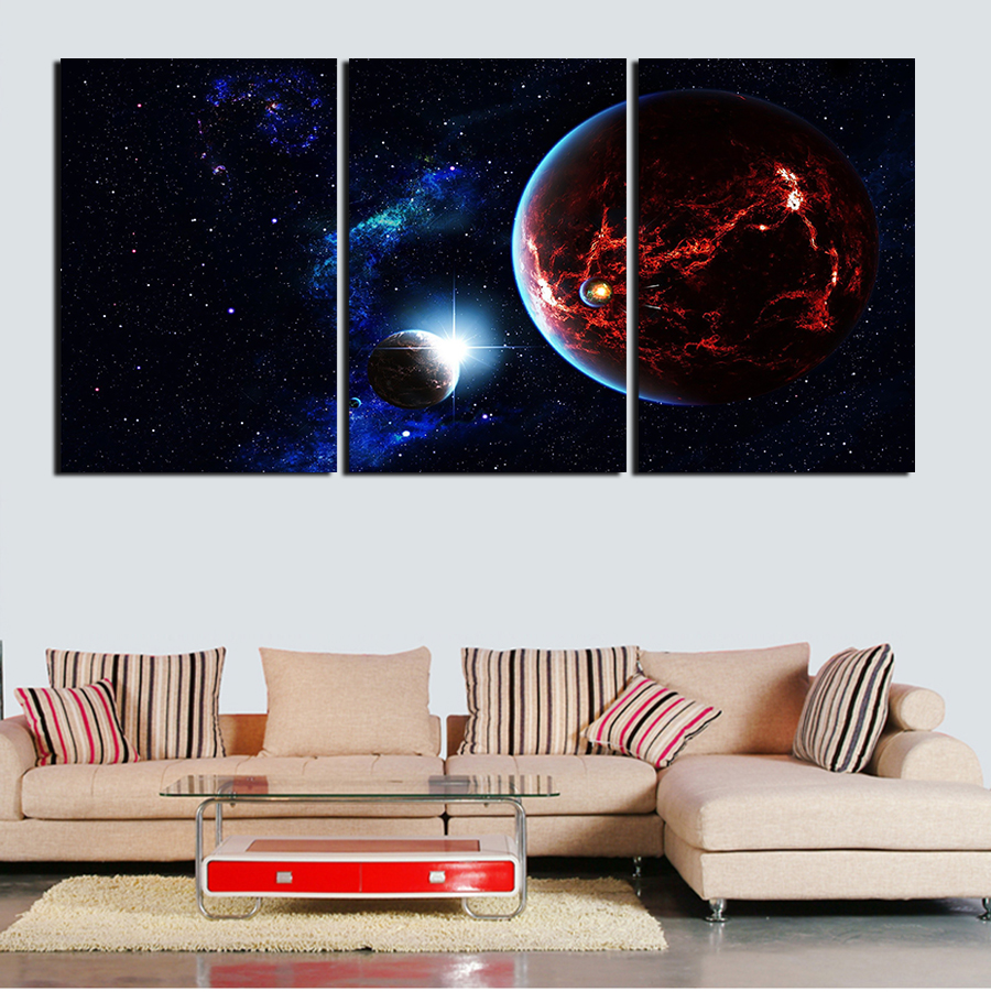 mosunx business 3d cartoon wall stickers mural decal quotes art 3 piece wall art painting canvas painting starry sky natural beauty painting modern poster picture home
