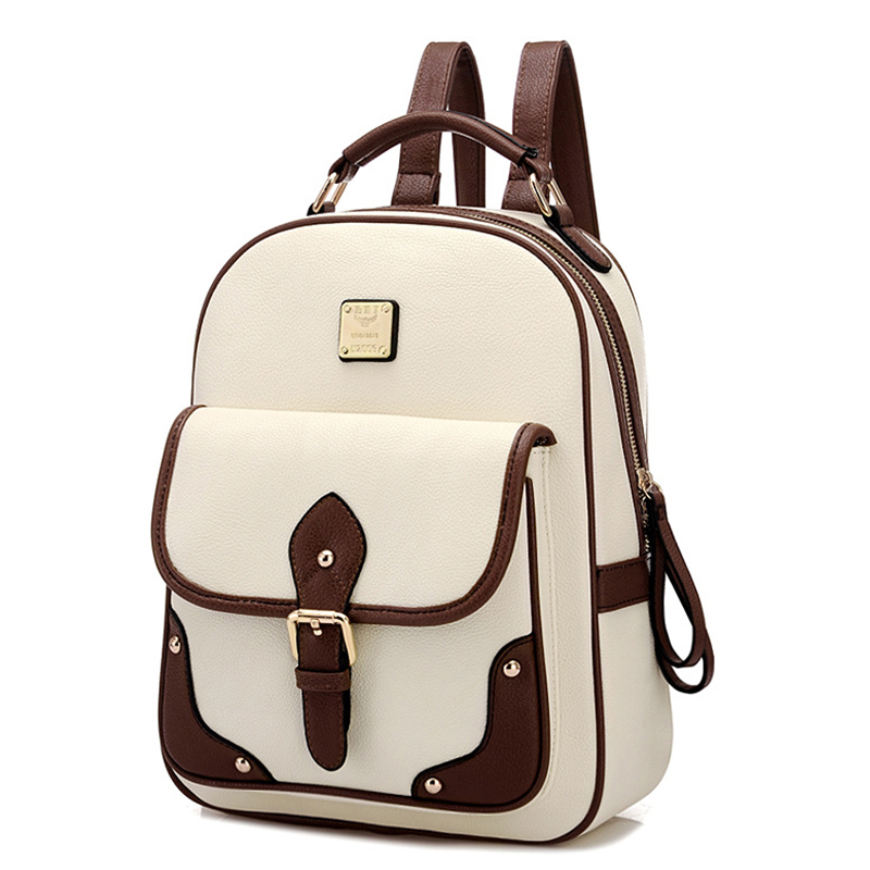 2016 Fashion High Quality Brand Patchwork Women Travel Bag Women's PU Leather Backpack School Backpack(China (Mainland))