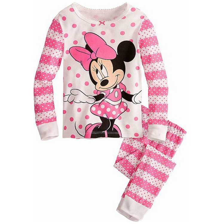 2015 new cotton baby girls sets kids minnie mouse pajama sets pijama infantil for girls children's pyjamas kids clothing(China (Mainland))